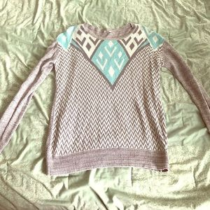 Gray and blue print sweater